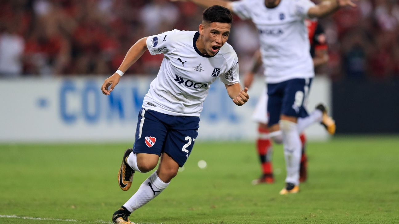 Ezequiel Barco celebrates a goal for Independiente against Flamengo.
