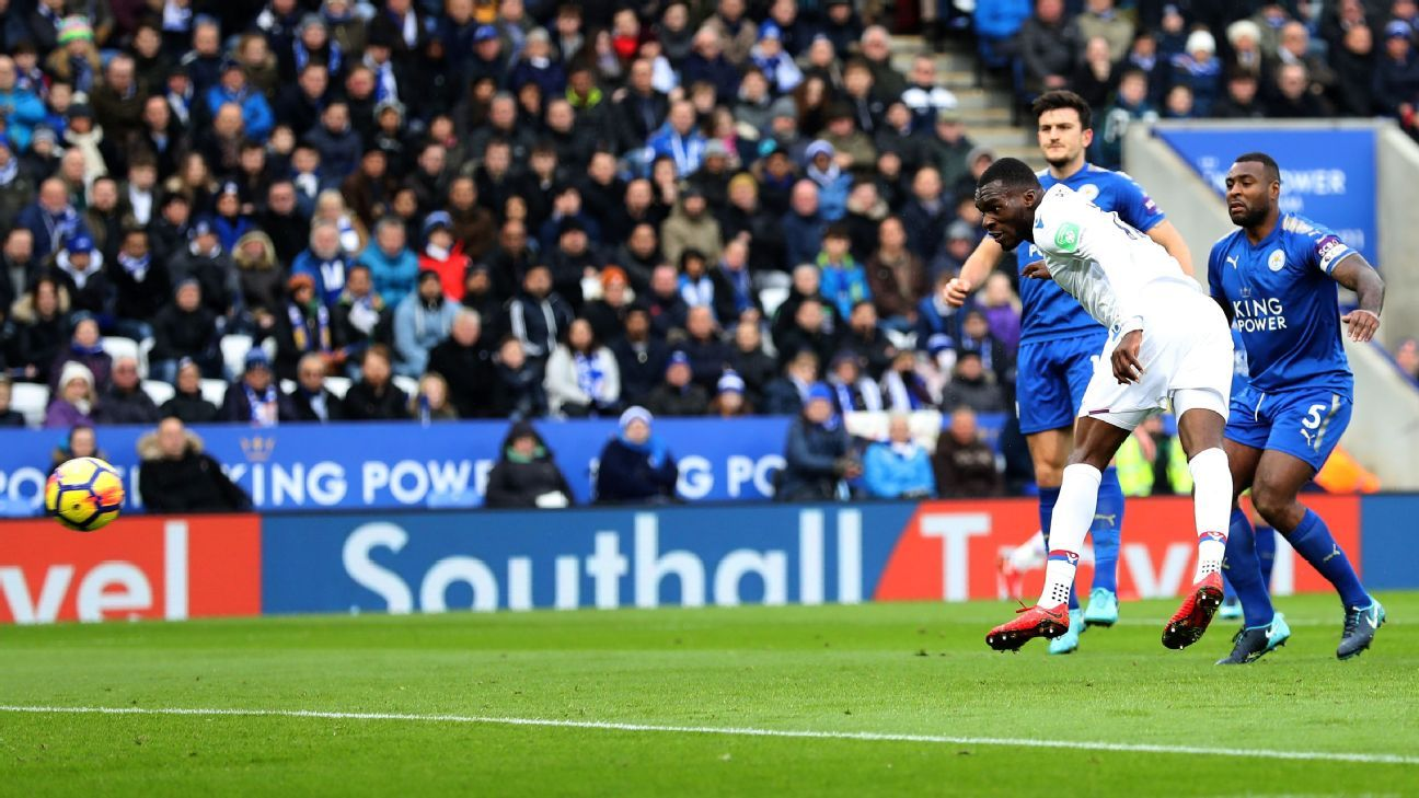 Christian Benteke scores for Crystal Palace against Leicester.