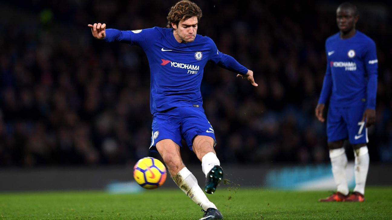 Marcos Alonso scores for Chelsea during their Premier League game against Southampton.