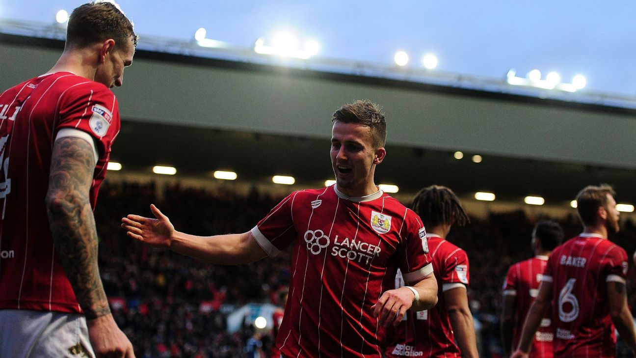 Joe Bryan celebrates a goal for Bristol City against Nottingham Forest.