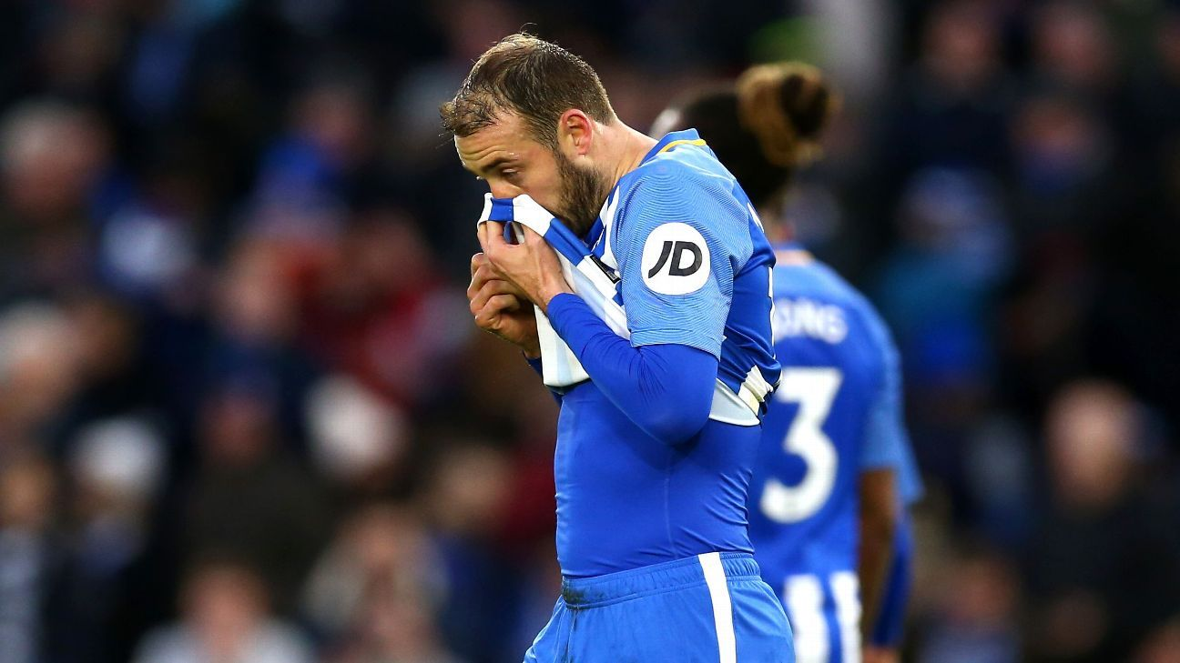 Glenn Murray reacts to his penalty miss for Brighton against Burnley.