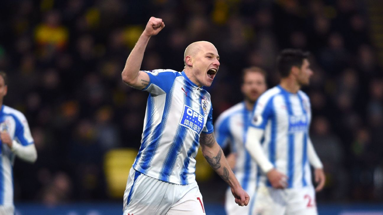 Aaron Mooy celebrates a goal for Huddersfield against Watford.