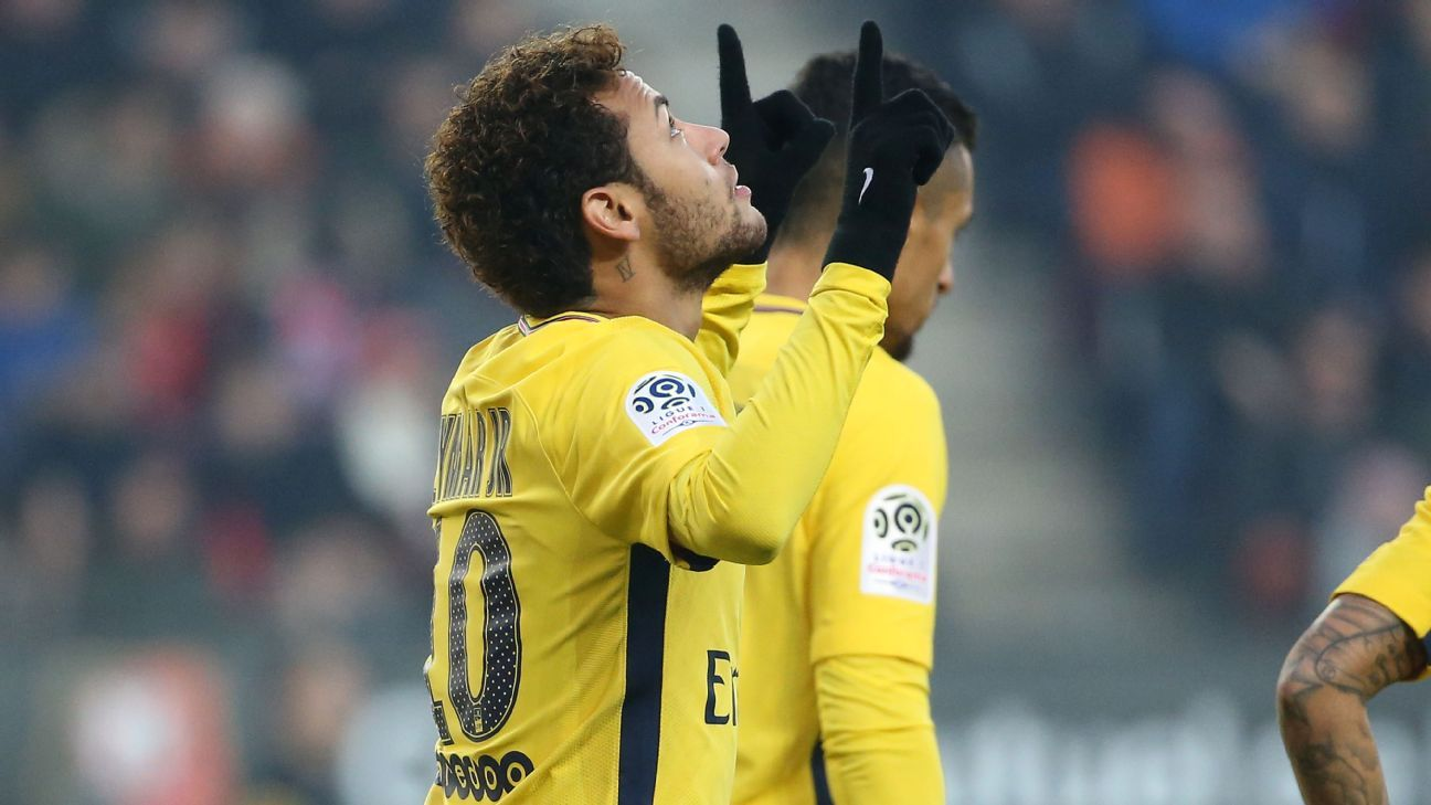 Neymar celebrates after scoring for Paris Saint-Germain during their Ligue 1 game against Rennes.