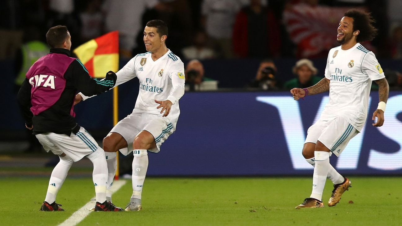 Cristiano Ronaldo celebrates after scoring for Real Madrid against Gremio.