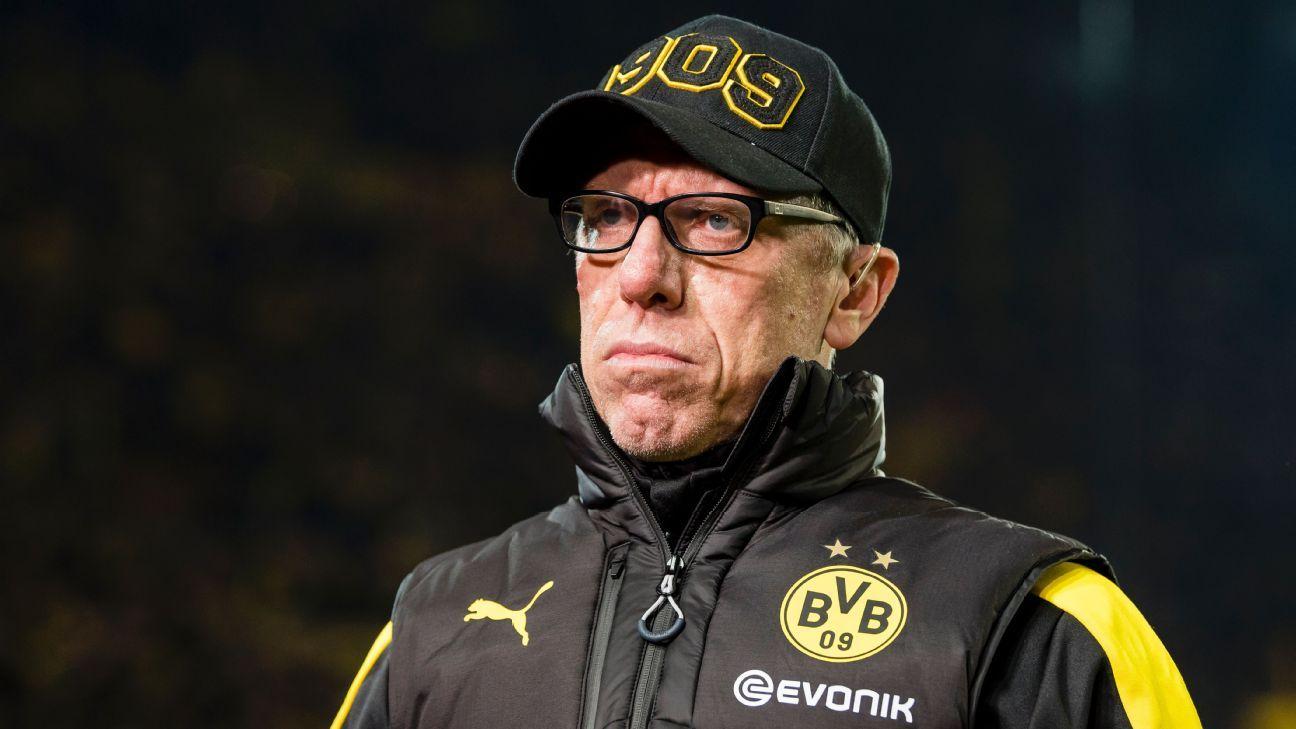Peter Stoger during Borussia Dortmund's Bundesliga game against Hoffenheim.