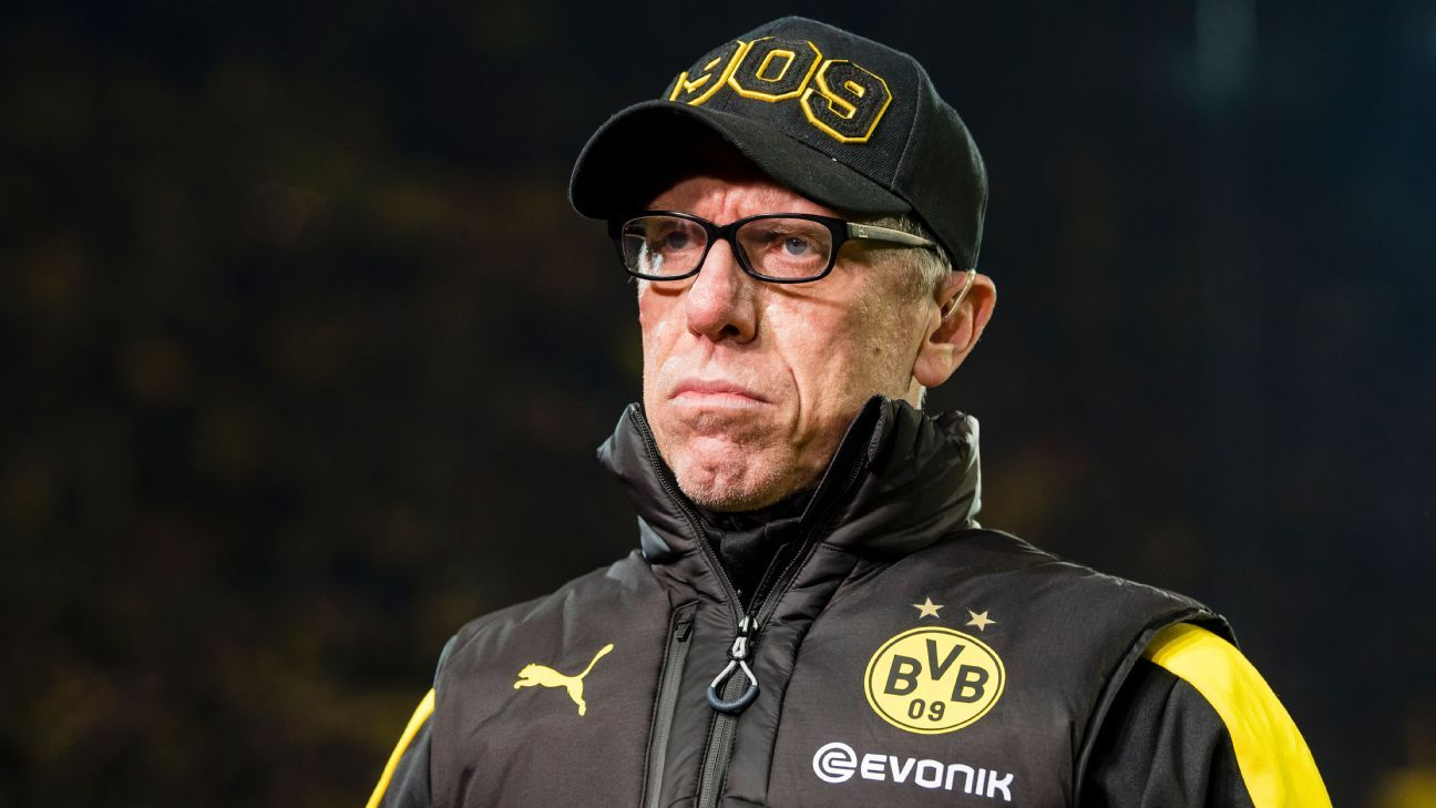 Peter Stoger during Borussia Dortmund's Bundesliga game against Hoffenheim.