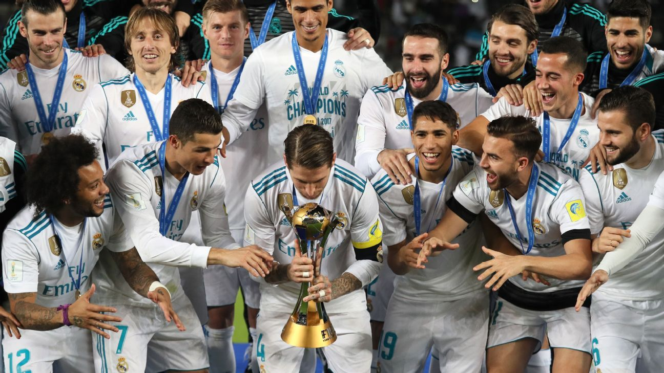 Real Madrid lift the Club World Cup.