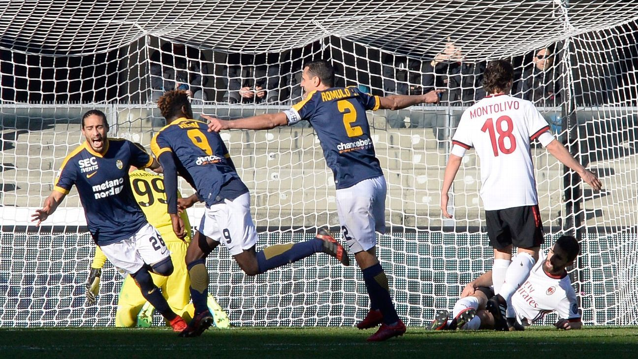 Moise Kean celebrates after scoring for Verona against AC Milan in Serie A.