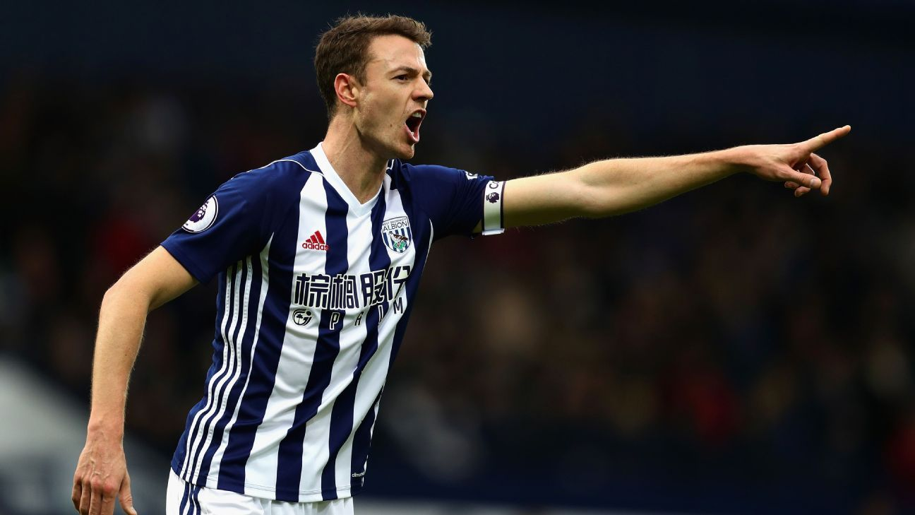 Jonny Evans during Manchester United's Premier League game against West Brom.