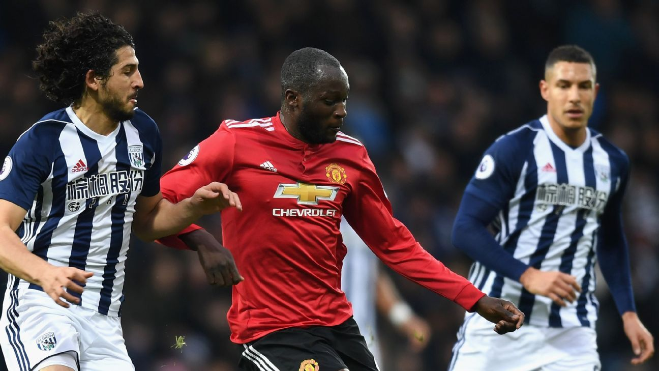 Romelu Lukaku in action for Manchester United against West Brom.