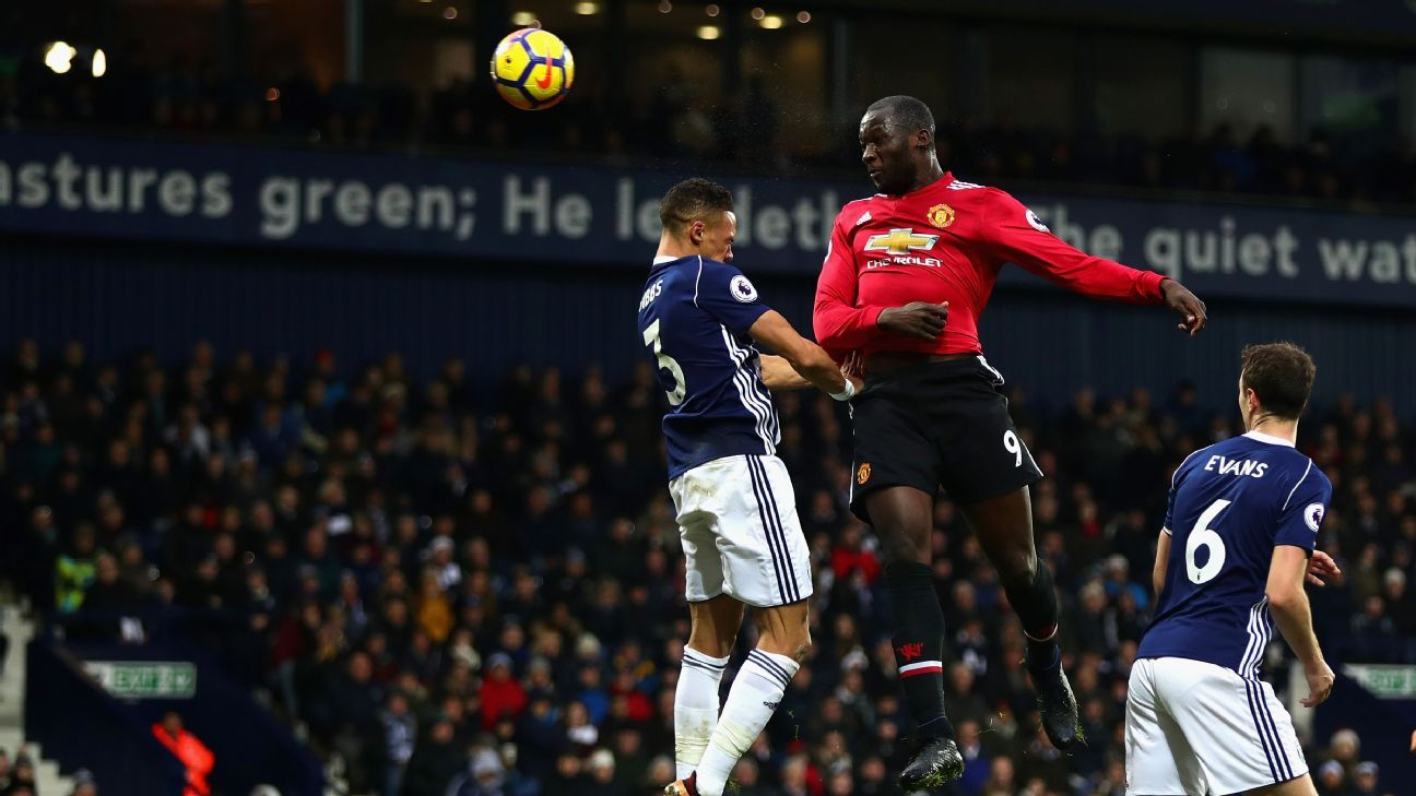 Romelu Lukaku scores for Manchester United against West Brom.