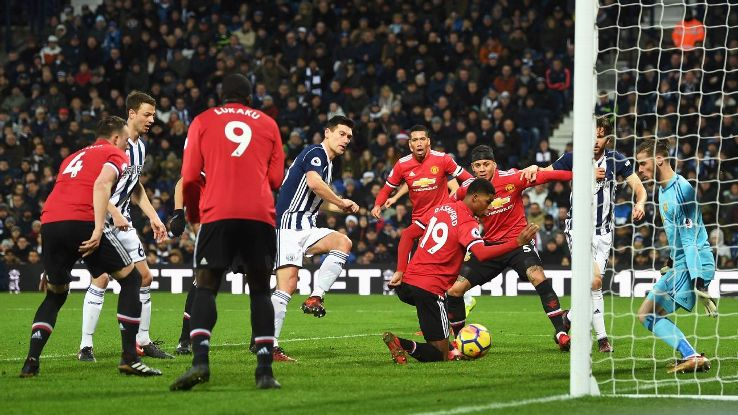 Gareth Barry of West Bromwich Albion scores his side's first goal