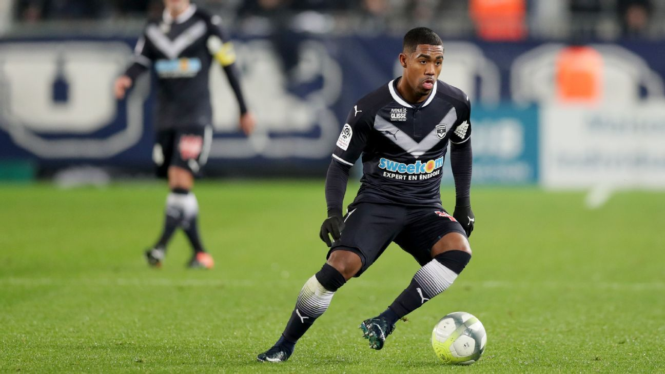 Bordeaux's Malcolm makes a move in a Ligue 1 match against Girondins