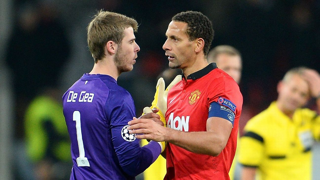 Manchester United's David De Gea and Rio Ferdinand