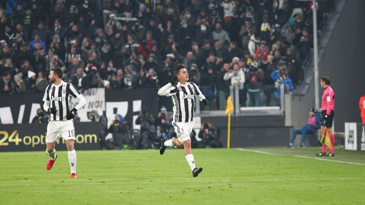 Paulo Dybala celebrates his opener against Genoa.