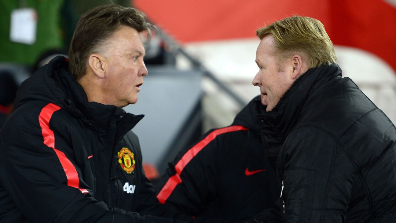 Louis van Gaal and Ronald Koeman shake hands before kick-off