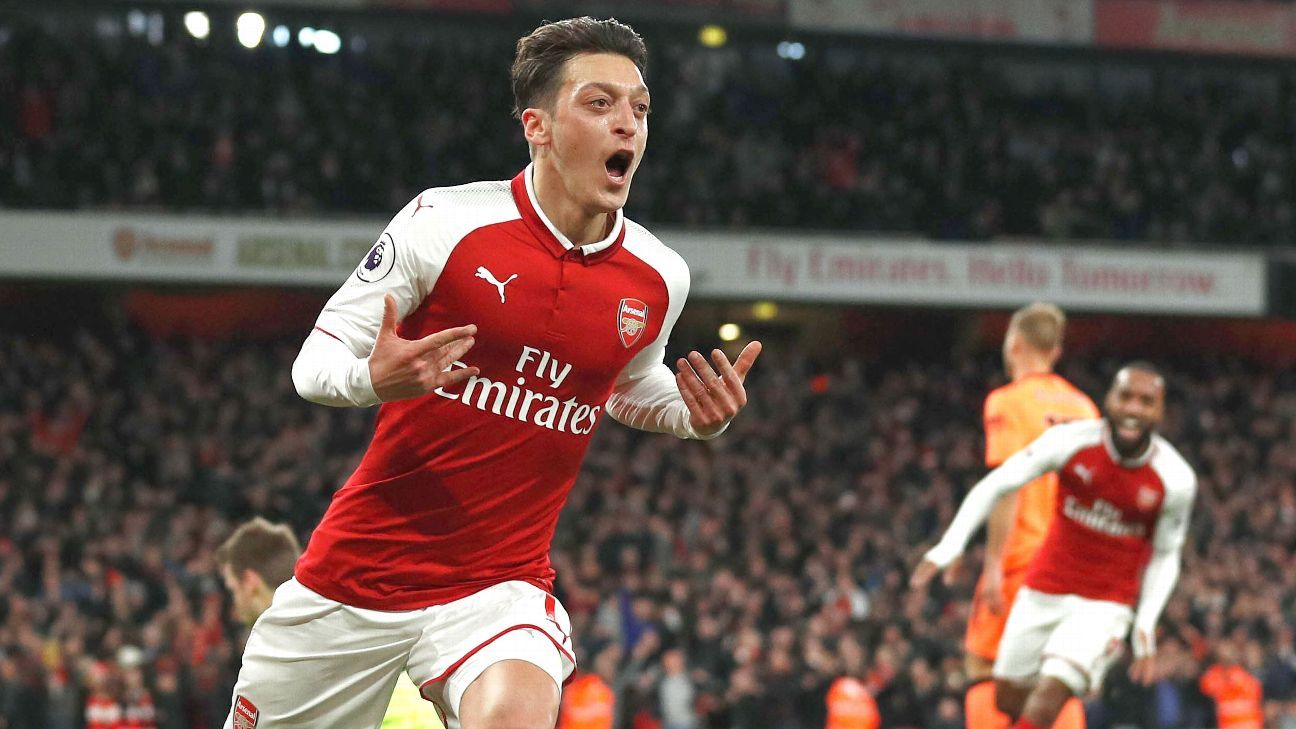 Mesut Ozil gave Arsenal a second-half lead, albeit one they could not hold.