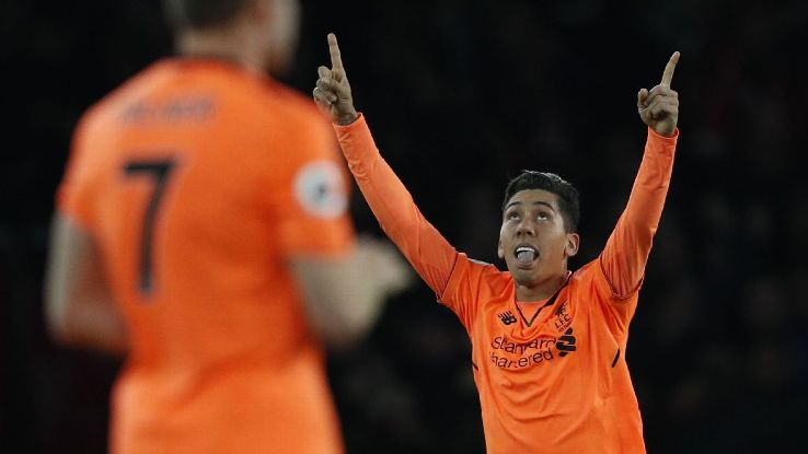 Roberto Firmino's goal salaged Liverpool a 3-3 draw at Arsenal.