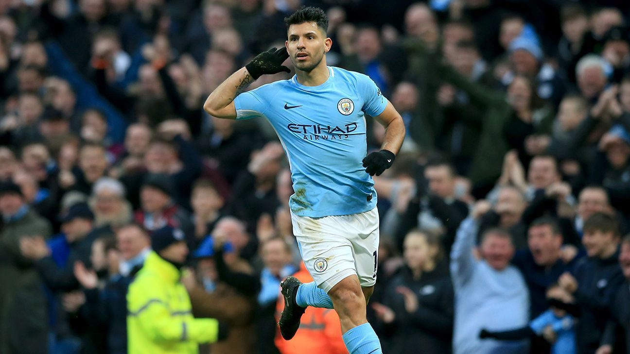 Sergio Aguero scored his 100th and 101st goals at the Etihad for City.