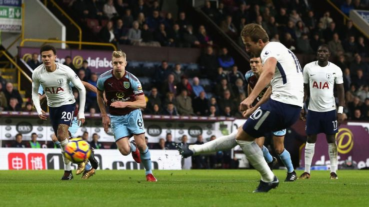 Harry Kane scored all three of Spurs' goals at Burnley.
