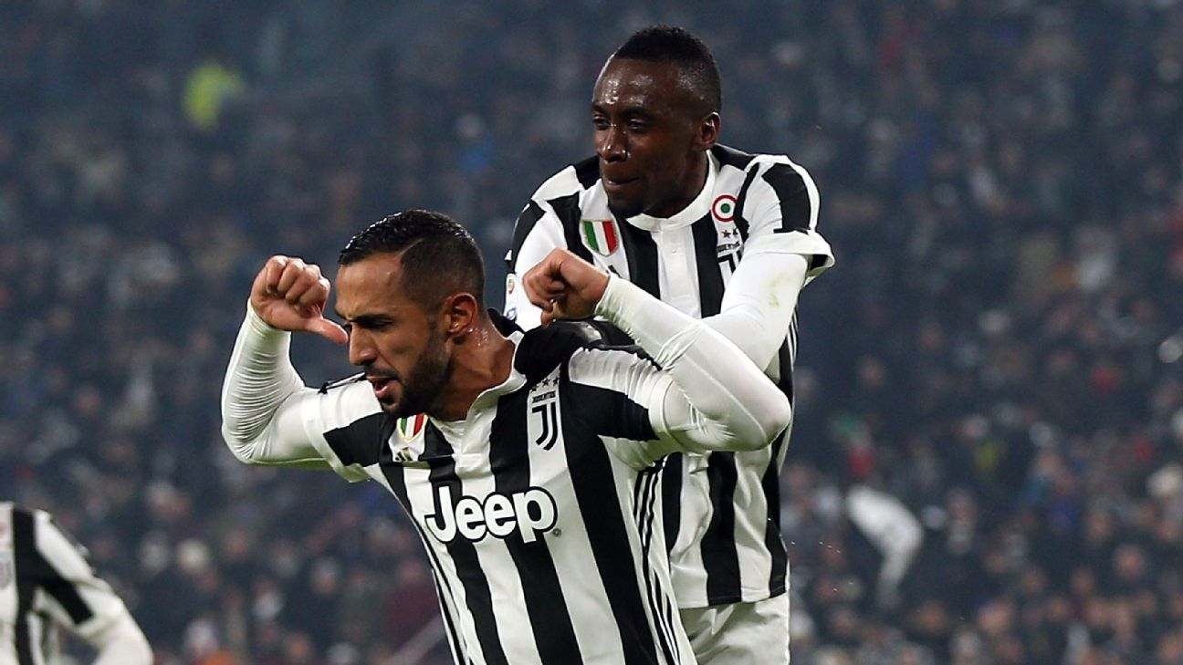 Mehdi Benatia celebrates after scoring a goal for Juventus against Roma.