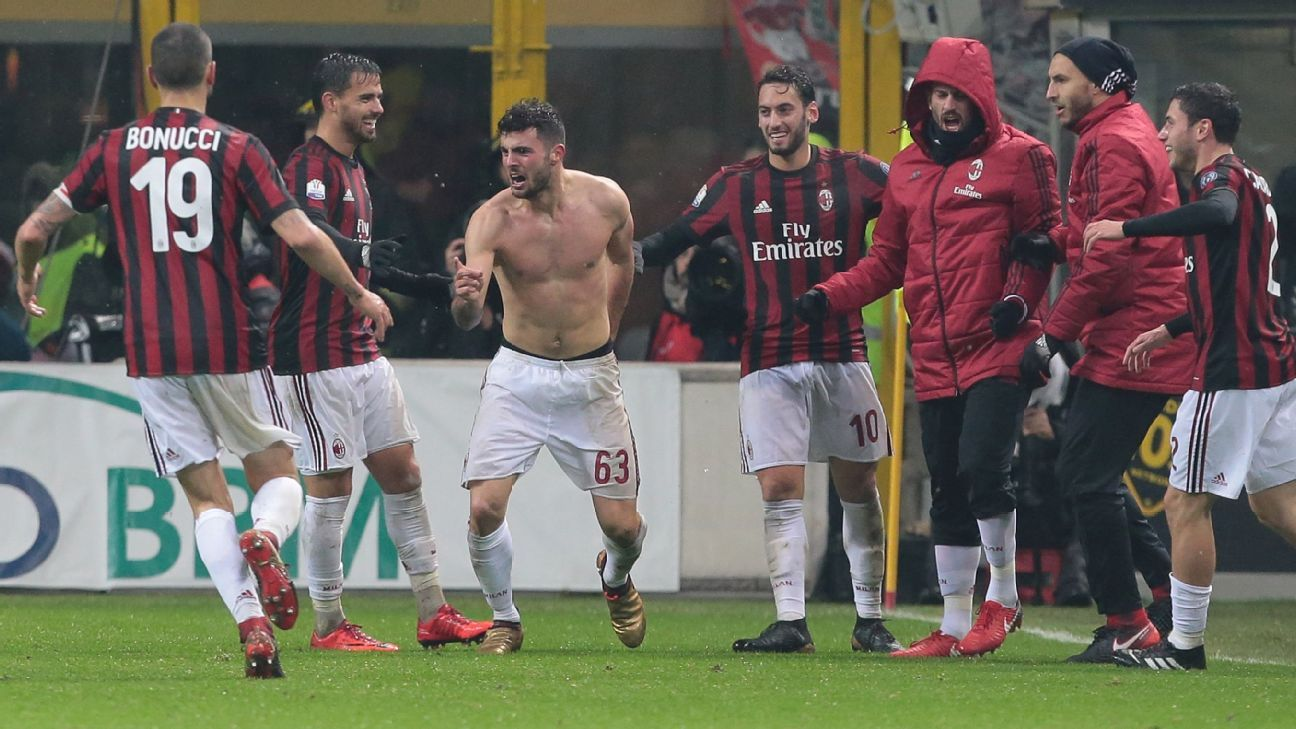 Patrick Cutrone of AC Milan celebrates after scoring the only goal in a Coppa Italia win against Inter.