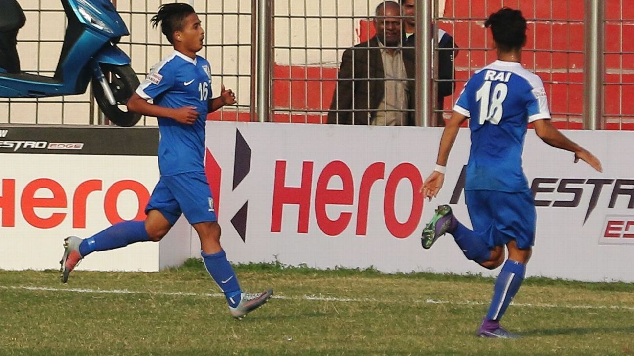 Nongdamba Naorem (left) after scoring against Shillong Lajong at the Ambedkar Stadium in New Delhi.
