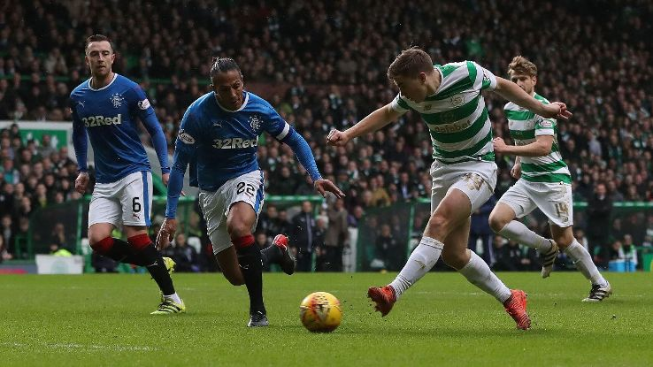 Celtic's James Forrest has a shot during Old Firm game vs Rangers