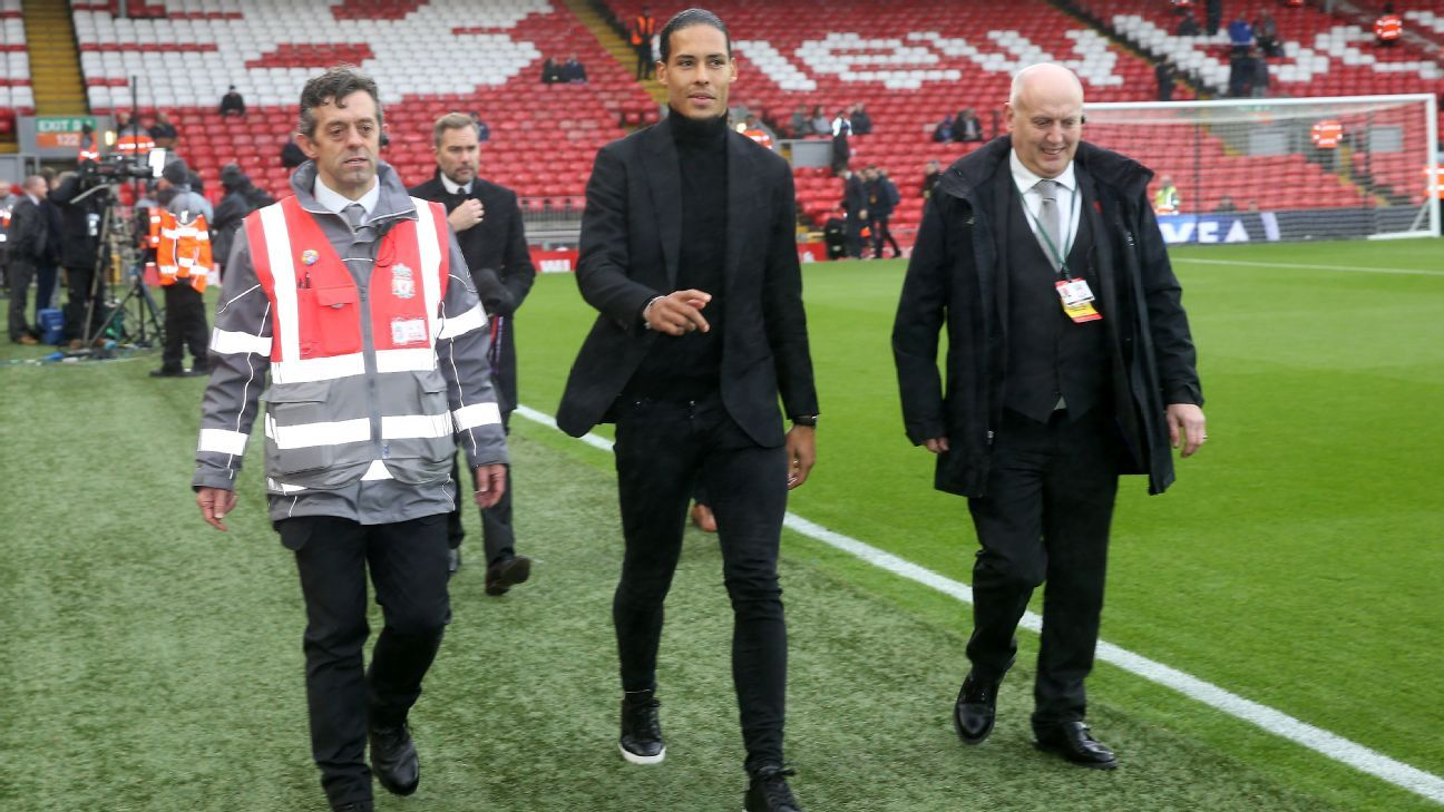 New Liverpool signing Virgil van Dijk at Anfield ahead of match vs Leicester City