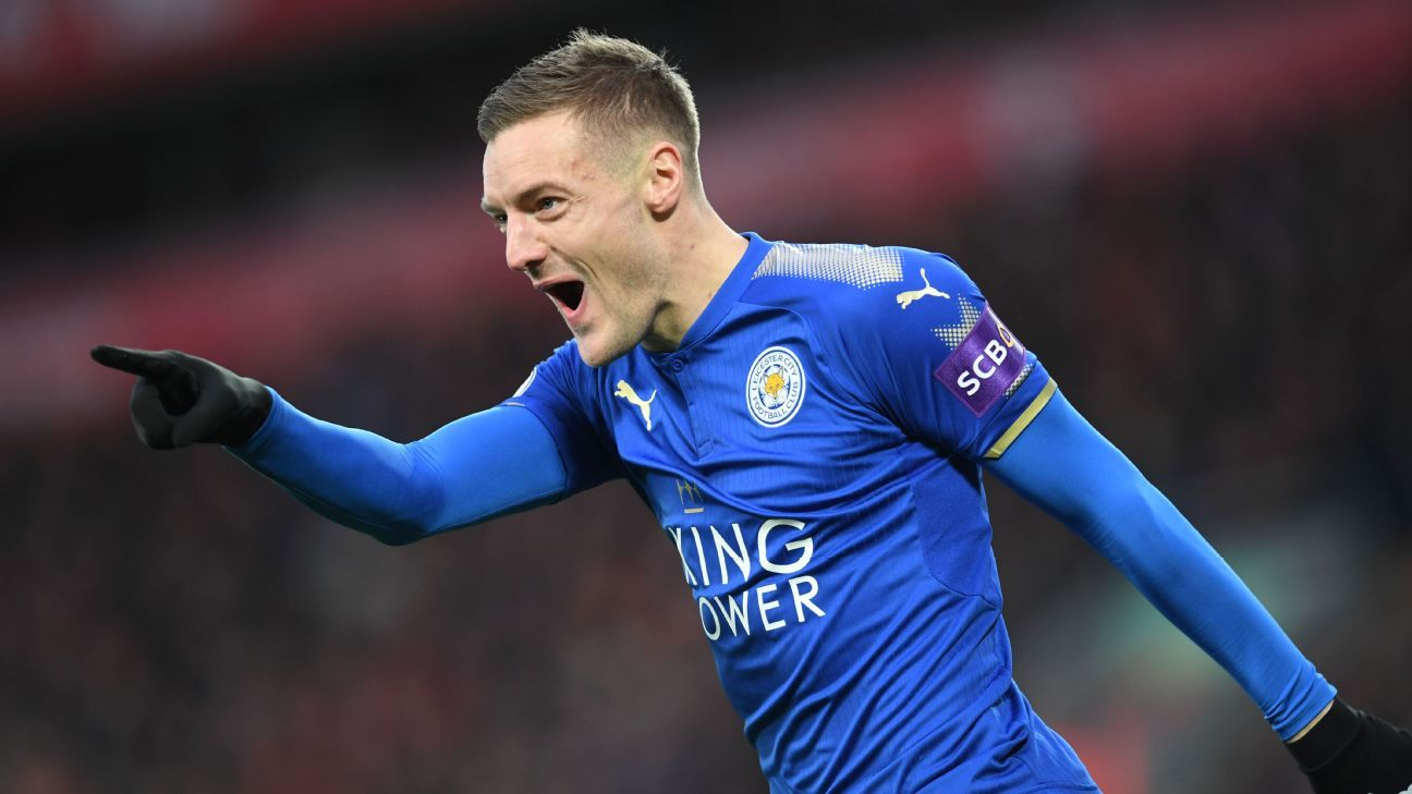 Leicester City striker Jamie Vardy celebrates scoring opening goal against Liverpool at Anfield