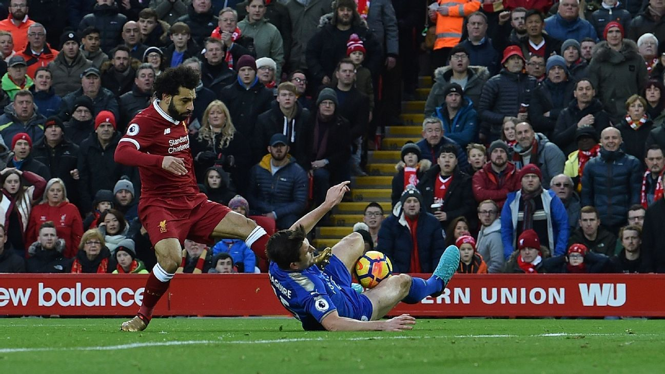 Liverpool's Mohamed Salah and Leicester's Harry Maguire