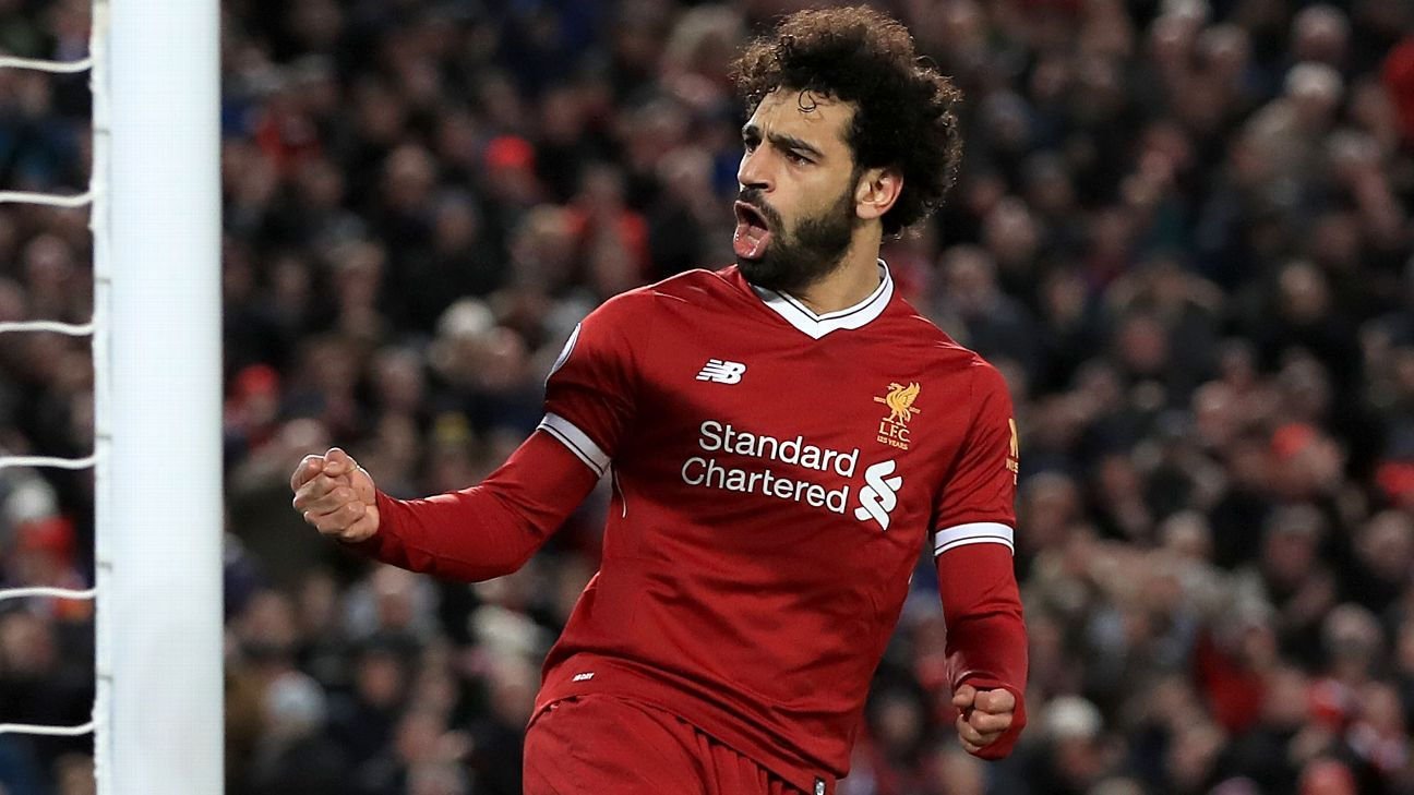 Mohamed Salah celebrates his equaliser for Liverpool vs Leicester