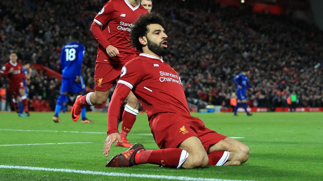 Mohamed Salah celebrates scoring his second goal vs Leicester
