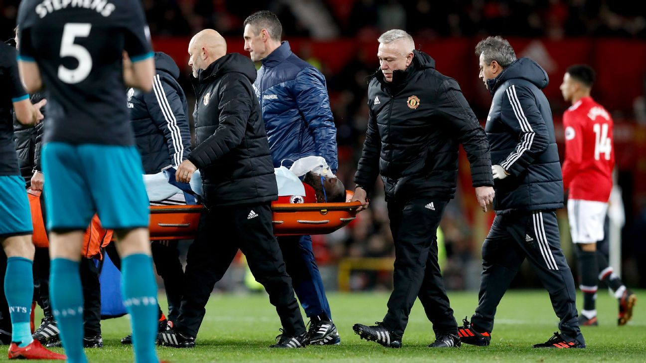 Romelu Lukaku is carried off of the pitch on a stretcher.