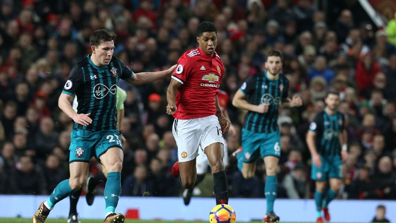 Marcus Rashford will be tasked with filling in at centre-forward for Man United.