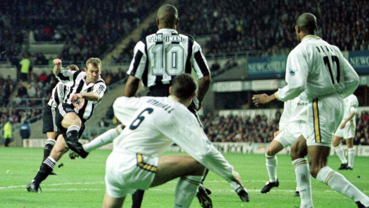 Alan Shearer scored the first Premier League goal of 1997 en route to his record haul of 260 in the competition
