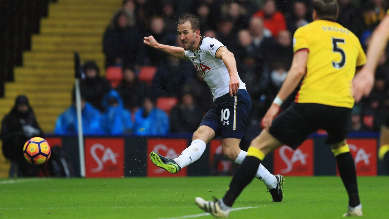 Harry Kane's opener against Watford was the first of his 56 goals for club and country in 2017