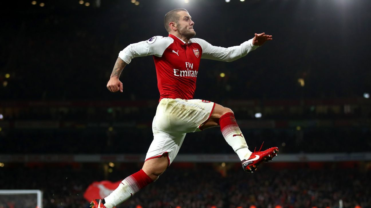 Jack Wilshere celebrates his first Premier League goal since May 2015.