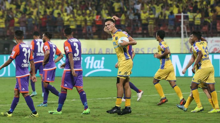 Mark Sifneos celebrates his goal against Pune.