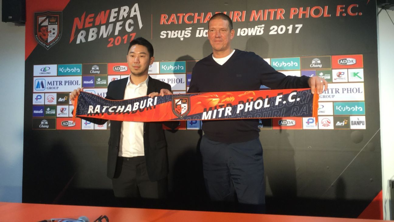Christian Ziege during his unveliing as the new manager of Ratchaburi.