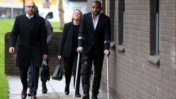 Jason Puncheon (right) arrives at Guildford Magistrates' Court.