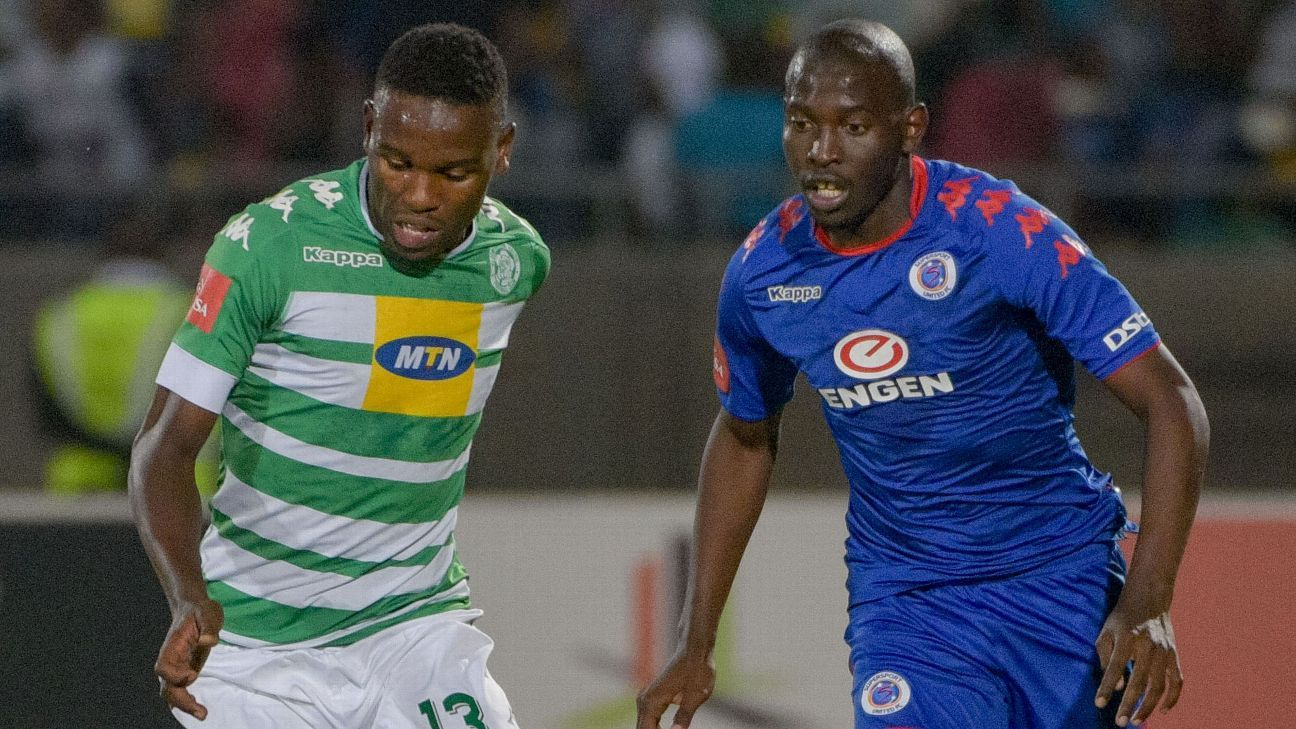 Victor Letsoalo of Bloemfontein Celtic and Aubrey Modiba of SuperSport United