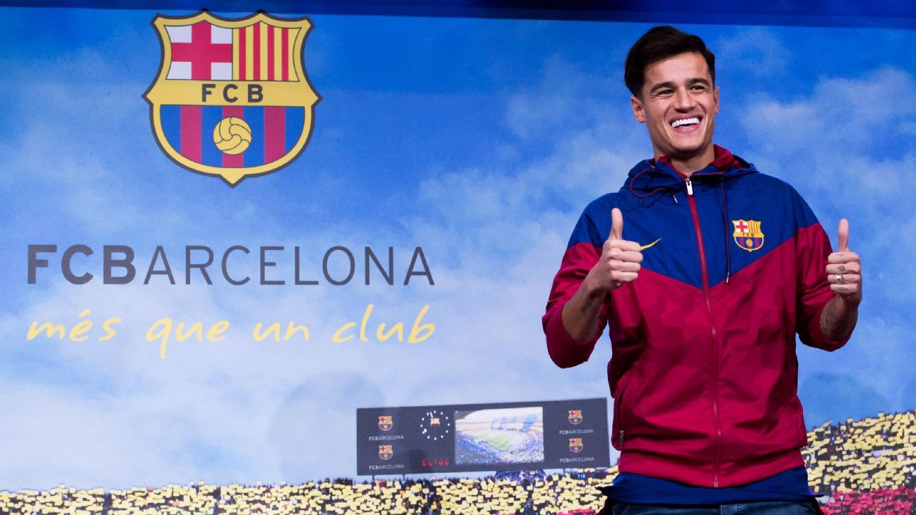 Philippe Coutinho was presented to media in Barcelona on Sunday ahead of completing his move from Liverpool