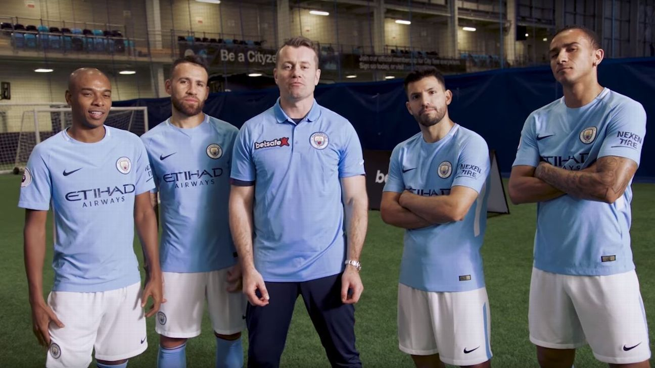 Manchester City stars try out the football versus rugby challenge