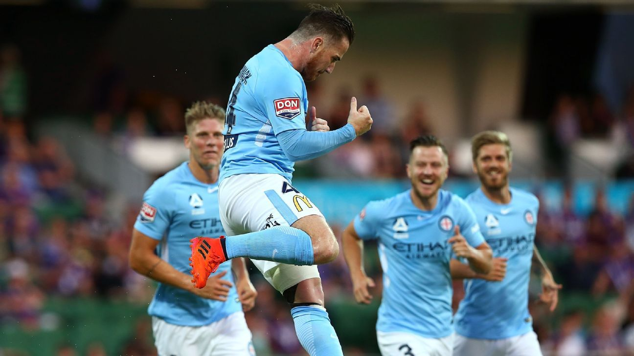 Ross McCormack celebrates one of his two goals against Perth.