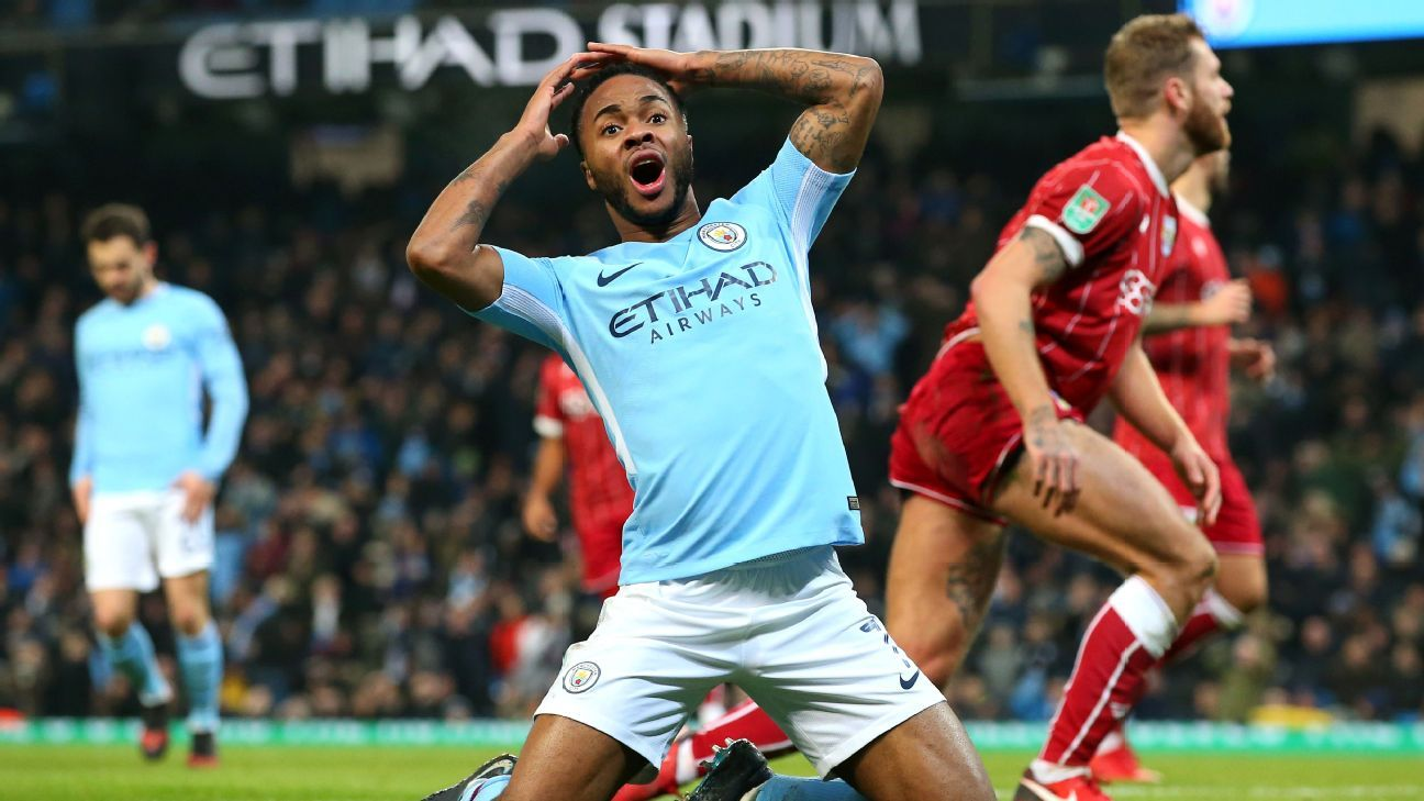 Raheem Sterling reacts after missing a shot against Bristol City.