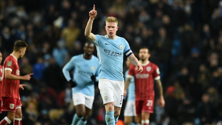 Kevin De Bruyne celebrates after scoring a goal for Manchester City against Bristol City.
