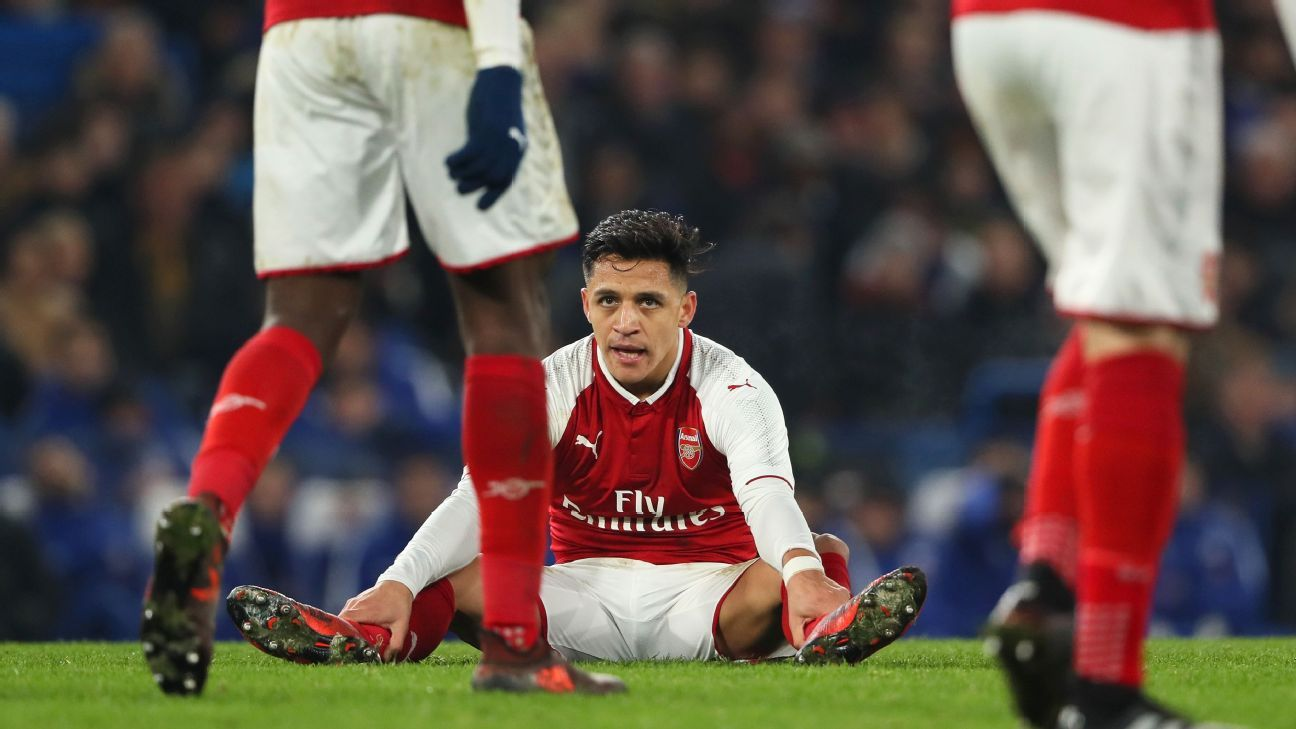 Alexis Sanchez reacts during Arsenal's 0-0 draw with Chelsea in the Carabao Cup semifinals.
