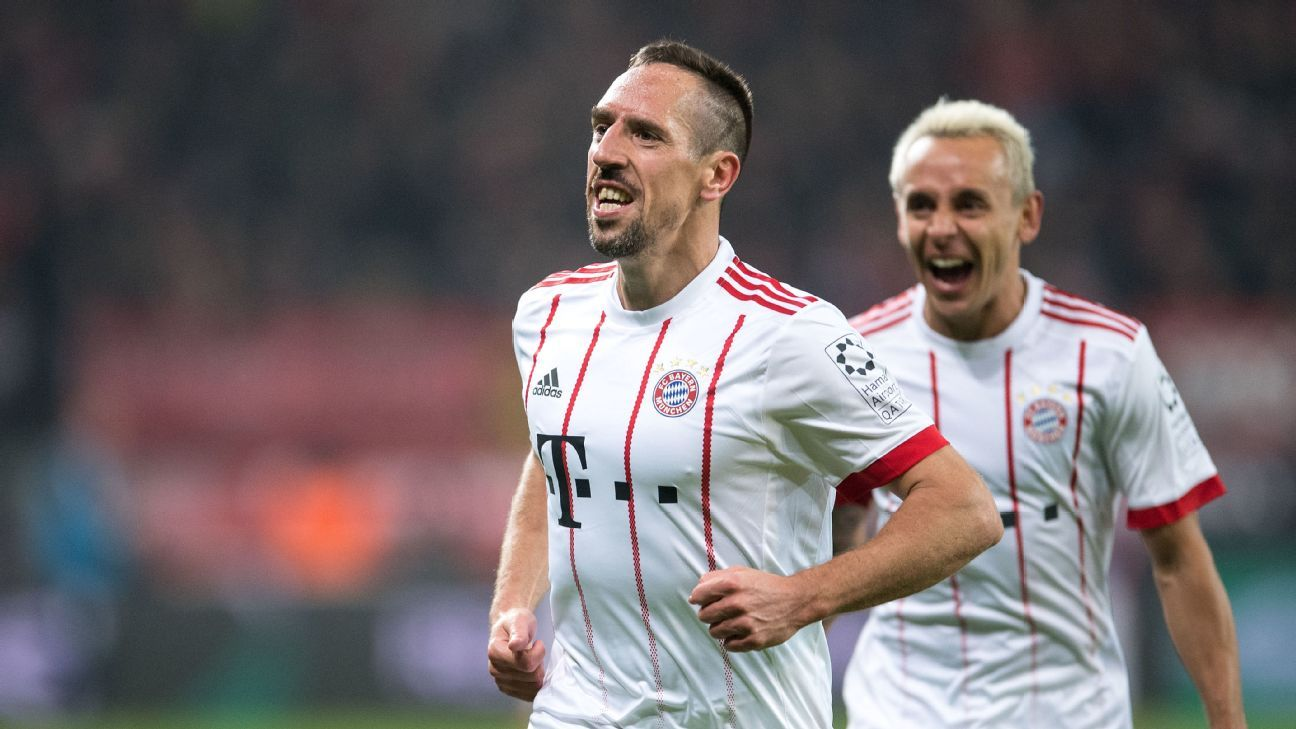 Franck Ribery celebrates after scoring a goal for Bayern Munich.