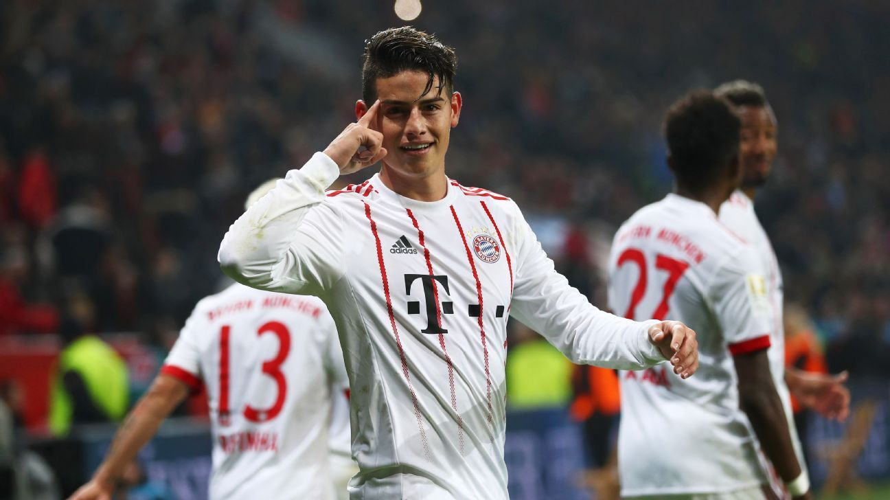 James Rodriguez celebrates after scoring a goal against Bayer Leverkusen.
